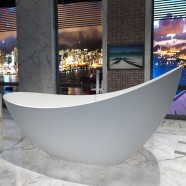 74 In Double Slipper Synthetic Stone Freestanding Bathtub - Matte White (DK-HA8621)