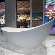 74 In Double Slipper Man-made Stone Freestanding Bathtub - Matte White (DK-HA8621)