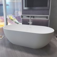 63 In Oval Synthetic Stone Freestanding Bathtub - Matte White (DK-HA6006)