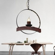 1-Light Iron/Glass Vintage Pendant Light (HKP31251-1)