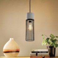 1-Light Iron/Cement Cage Pendant Light (HKP31356-1)