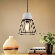 1-Light Iron/Cement Cage Pendant Light (HKP31357-1)