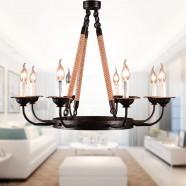 8-Light Rope Iron Chandelier (8135-D8)
