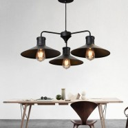 3-Light Iron/Glass Industrial Pendant Light (HKP31250-3)