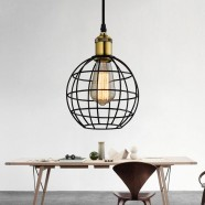 1-Light Cage Pendant Iron Light (HKP31444-1)