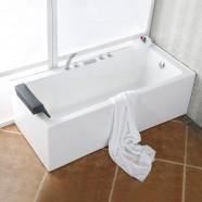 65 In Rectangular Corner Bathtub with Drain - Acrylic White (DK-2002-1650R)