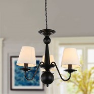 3-Light Black Wrought Iron Chandelier with Cloth Shades (DK-2016-3)