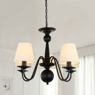 5-Light Black Wrought Iron Chandelier with Cloth Shades (DK-2016-5)
