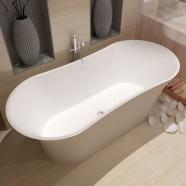 64 In Double Slipper Man-made Stone Freestanding Bathtub - Matte White (DK-HA8601)