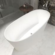 62 In Oval Man-made Stone Freestanding Bathtub – Matte White (DK-HA8602)