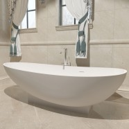 71 In Double Slipper Man-made Stone Freestanding Bathtub - Matte White (DK-HA8604)