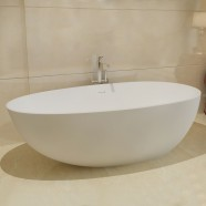 67 In Oval Man-made Stone Freestanding Bathtub - Matte White (DK-HA8608)