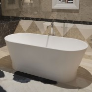 59 In Oval Synthetic Stone Freestanding Bathtub - Matte White (DK-HA8609)