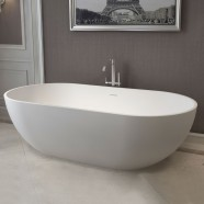 70 In Oval Man-made Stone Freestanding Bathtub - Matte White (DK-HA8619)