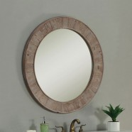 28 x 28 In Round Bath Vanity Décor Mirror with Fir Wood Frame (DK-WK2911-SW)