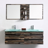 55 In. Wall Mount Bathroom Vanity Set With Double Glass Sink and Mirror (VS-8861-SET)