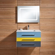 31 In. Wall Hung Bathroom Vanity Set with Single Sink and lighted Mirror (DK-668800-SET)