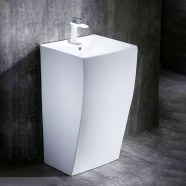 White Square Ceramic Pedestal Sink (CL-6002)