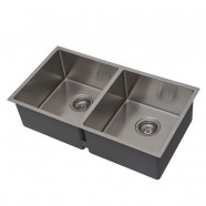 32 x 19 In. Stainless Steel Double Bowl Kitchen Sink (DSR3219-R10)
