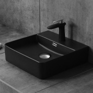 Matte Black Rectangle Ceramic Above Counter Basin (CL-1275YA)