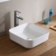 Matte White Square Ceramic Above Counter Basin (CL-1282YD)