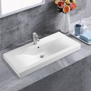 White Rectangle Ceramic Bathroom Vanity Basin (CL-4038-100)