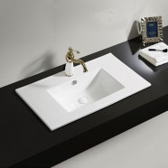 White Rectangle Ceramic Bathroom Vanity Basin (CL-4001-80)