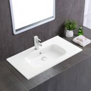 White Rectangle Ceramic Bathroom Vanity Basin (CL-4108-80)