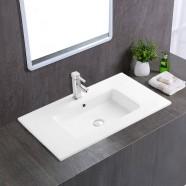 White Rectangle Ceramic Bathroom Vanity Basin (CL-4106-80)
