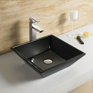 Black Square Ceramic Above Counter Basin (CL-1061-C2)