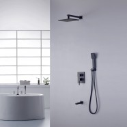In-Wall Shower Faucet - Brass with Matte Black Finish (YDL-7523BK)