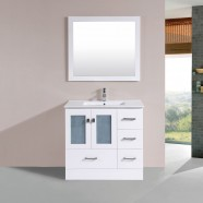 36 In. Plywood Vanity with Basin and Matching Mirror (DK-T9312-36W-SET)