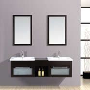 60 In. Espresso Plywood Double Vanity Sets (DK-T9118-SET)