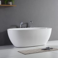 67 In Back to Wall Freestanding Bathtub with Faucets - Acrylic White (DK-Q360S)