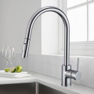 Chrome Finished Brass Kitchen Faucet - Pull Out Spray Head (82H13-CHR-A)