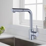 Chrome Finished Brass Kitchen Faucet - Pull Out Spray Head (82H13-CHR-B)