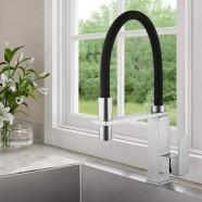 Chrome Kitchen Faucet with Black Flexible Hose (YDL0003)