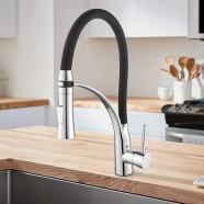 Chrome Kitchen Faucet with Black Flexible Hose (YDL0004)