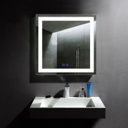 Decoraport 32 x 32 In LED Bathroom Mirror with Touch Button, Anti-Fog, Dimmable, Vertical & Horizontal Mount (CK010-3232-TS)