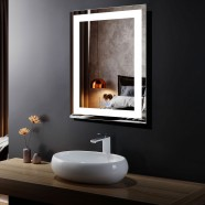 DECORAPORT 24 x 32 Inch LED Bathroom Mirror with Touch Button, Anti Fog, Dimmable, Vertical & Horizontal Mount (D214-2432)