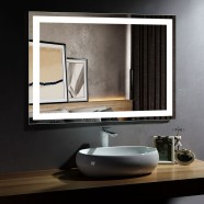 DECORAPORT 48 x 36 Inch LED Bathroom Mirror/Dress Mirror with Infrared Sensor Control, Anti-Fog, Vertical & Horizontal Mount (CK010-4836-GS)