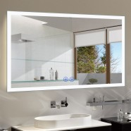 DECORAPORT 55 x 36 Inch LED Bathroom Mirror/Dress Mirror with Touch Button, Bluetooth, Anti-Fog, Dimmable, Vertical & Horizontal Mount (NT051-5536)