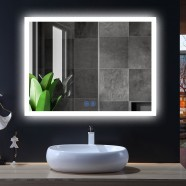 DECORAPORT 48 x 36 Inch LED Bathroom Mirror/Dress Mirror with Touch Button, Anti Fog, Dimmable, Bluetooth Speakers,Vertical & Horizontal Mount (D124-4836A)
