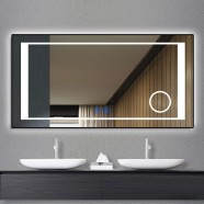 DECORAPORT 55 x 28 Inch LED Bathroom Mirror/Dress Mirror with Touch Button, Magnifier, Anti Fog, Dimmable, Vertical & Horizontal Mount (KT06-5528)
