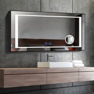 DECORAPORT 60 x 28 Inch LED Bathroom Mirror/Dress Mirror with Touch Button, Magnifier, Anti Fog, Dimmable, Vertical & Horizontal Mount (CK208-6028-TS)