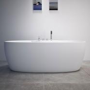 Decoraport 67 Freestanding Bathtub with Faucets - Acrylic White (DK-RL-MF1207)