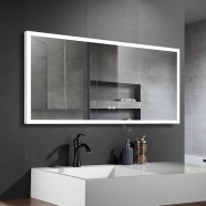 DECORAPORT 55 x 28 Inch LED Bathroom Mirror with Touch Button, Anti Fog, Dimmable,  Bluetooth Speakers, Vertical & Horizontal Mount (D122-5528A)
