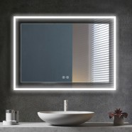 DECORAPORT 48 x 36 Inch LED Bathroom Mirror with Touch Button, Anti Fog, Dimmable, Bluetooth Speakers, Vertical & Horizontal Mount (D323-4836A)