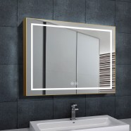 DECORAPORT 36 x 28 Inch LED Bathroom Mirror with Touch Button, Light Luxury Gold, Anti Fog, Dimmable, Vertical & Horizontal Mount (KJ-3628-G)
