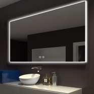DECORAPORT 55 x 36 Inch LED Bathroom Mirror with Touch Button,Anti Fog, Dimmable, Bluetooth Speakers, Vertical & Horizontal Mount (D422-5536A)